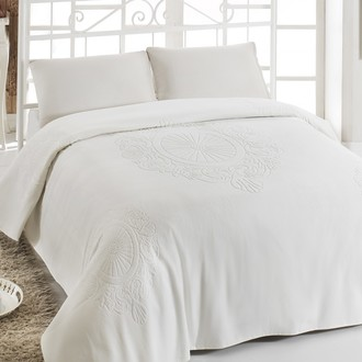 Махровая простынь-покрывало-одеяло Pupilla EFTALYA махра+велюр хлопок кремовый