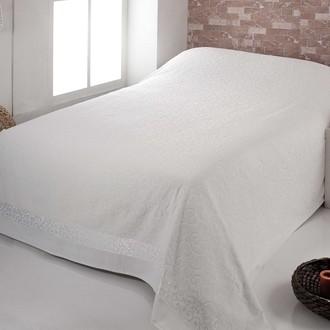 Махровая простынь-покрывало-одеяло Pupilla BUSE махра+велюр хлопок кремовый