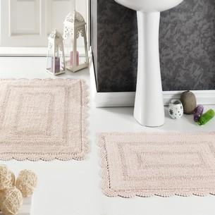 Набор ковриков для ванной Modalin EVORA вязаный хлопок 50х70, 60х100 абрикосовый