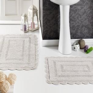 Набор ковриков для ванной Modalin EVORA вязаный хлопок 50х70, 60х100 экрю