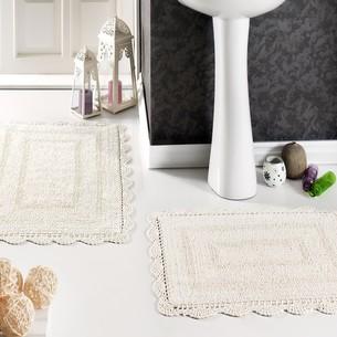 Набор ковриков для ванной Modalin EVORA вязаный хлопок 50х70, 60х100 кремовый