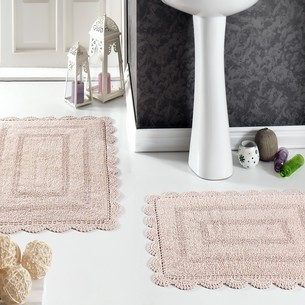 Набор ковриков для ванной Modalin EVORA вязаный хлопок 50х70, 60х100 пудра
