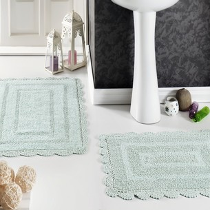 Набор ковриков для ванной Modalin EVORA вязаный хлопок 50х70, 60х100 светло-зелёный