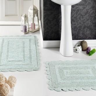 Набор ковриков для ванной Modalin EVORA вязаный хлопок 50*70, 60*100 (светло-зелёный)