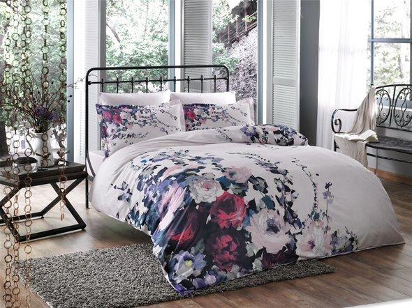 Комплект постельного белья TAC SATIN VERONICA сатин хлопок (лиловый) евро, фото, фотография