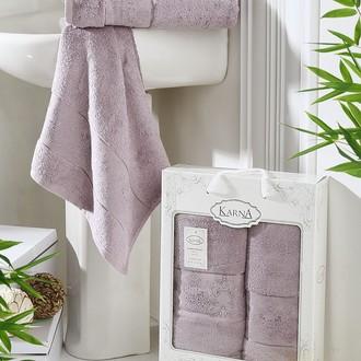 Набор полотенец банных в подарочной упаковке 50х90, 70х140 Karna PANDORA махра бамбук светло-лавандовый