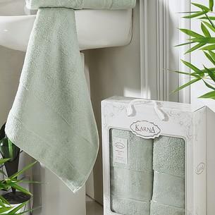 Набор полотенец банных в подарочной упаковке 50х90, 70х140 Karna PANDORA махра бамбук светло-зелёный