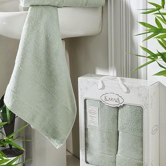 Набор полотенец банных в подарочной упаковке 50*90, 70*140 Karna PANDORA махра бамбук (светло-зелёный)
