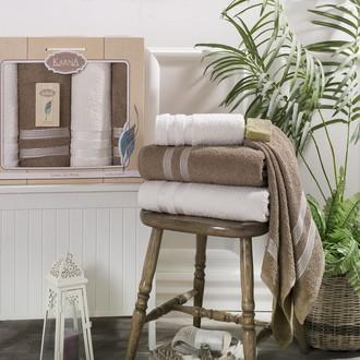 Набор полотенец банных в подарочной упаковке 50*100(2), 100*150(2) Karna PETEK махра хлопок (кремовый+кофейный)