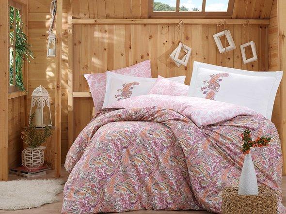Комплект постельного белья Hobby GIULIA поплин хлопок (розовый) 1,5 спальный, фото, фотография