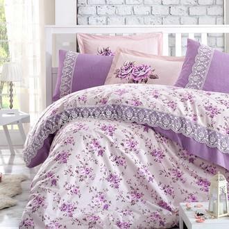Комплект постельного белья Hobby FLORA кружево поплин хлопок (лиловый)