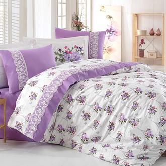 Комплект постельного белья Hobby PARIS SPRING кружево поплин хлопок (лиловый)