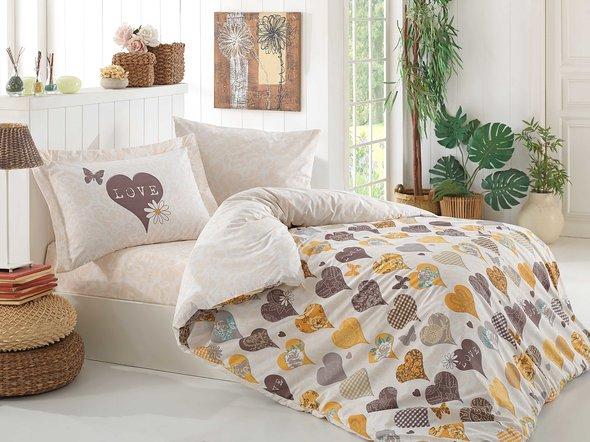 Комплект постельного белья Hobby VERA поплин хлопок (жёлтый) 1,5 спальный, фото, фотография
