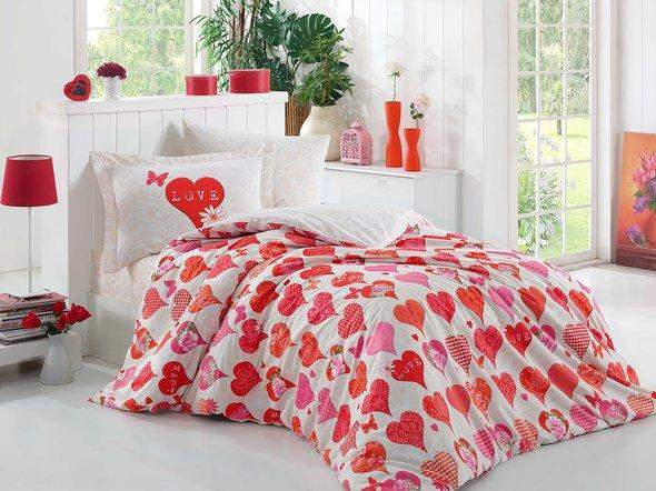 Комплект постельного белья Hobby VERA поплин хлопок (красный) 1,5 спальный, фото, фотография