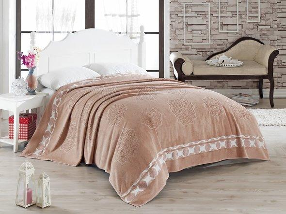 Махровая простынь-покрывало-одеяло Pupilla ELENOR махра бамбук (абрикосовый) 200*220, фото, фотография