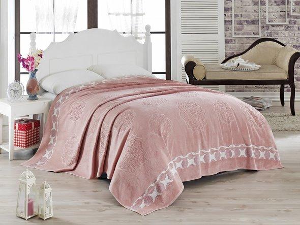 Махровая простынь-покрывало-одеяло Pupilla ELENOR махра бамбук (грязно-розовый) 200*220, фото, фотография