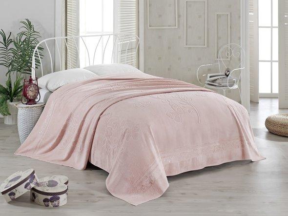 Махровая простынь-покрывало-одеяло Pupilla KIR CECEGI махра бамбук (грязно-розовый) 200*220, фото, фотография