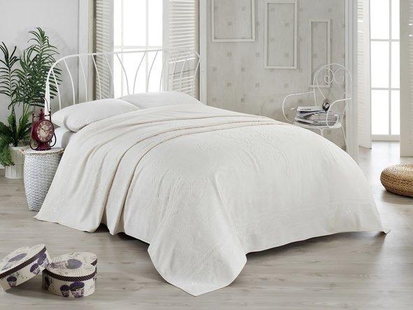 Махровая простынь-покрывало-одеяло Pupilla KIR CECEGI махра бамбук (кремовый) 200*220, фото, фотография