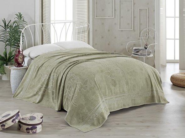 Махровая простынь-покрывало-одеяло Pupilla KIR CECEGI махра бамбук (зелёный) 200*220, фото, фотография