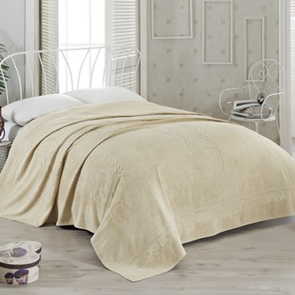 Махровая простынь-покрывало-одеяло Pupilla KIR CECEGI махра бамбук (бежевый)