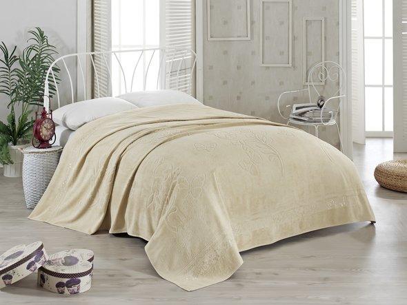 Махровая простынь-покрывало-одеяло Pupilla KIR CECEGI махра бамбук (бежевый) 200*220, фото, фотография