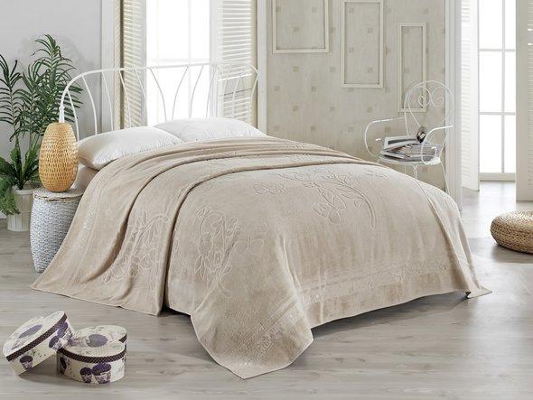 Махровая простынь-покрывало-одеяло Pupilla KIR CECEGI махра бамбук (кофейный) 200*220, фото, фотография