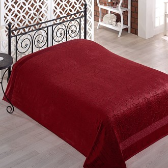 Махровая простынь-покрывало для укрывания Pupilla GOBEL махра бамбук бордовый