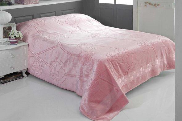 Махровая простынь-покрывало-одеяло Pupilla ROSE махра бамбук (розовый) 200*220, фото, фотография