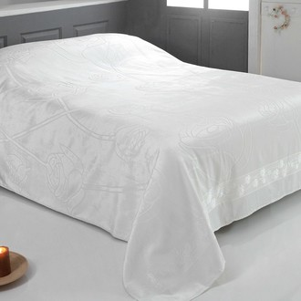 Махровая простынь-покрывало-одеяло Pupilla ROSE махра бамбук (кремовый)