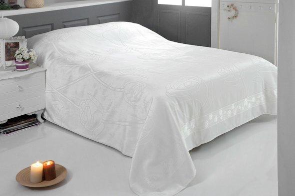 Махровая простынь-покрывало-одеяло Pupilla ROSE махра бамбук (кремовый) 200*220, фото, фотография