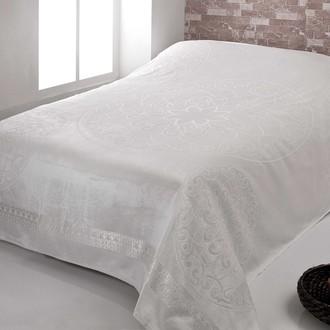 Махровая простынь-покрывало-одеяло Pupilla OTTOMON махра+велюр бамбук (кремовый)