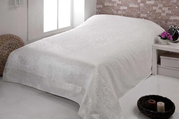 Махровая простынь-покрывало-одеяло Pupilla OTTOMON махра+велюр бамбук (кремовый) 200*220, фото, фотография