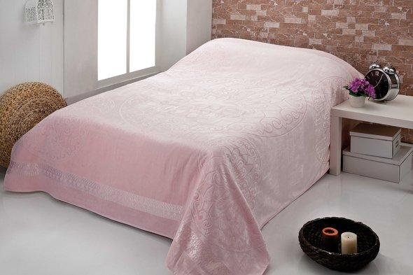 Махровая простынь-покрывало для укрывания Pupilla OTTOMON махра+велюр бамбук (розовый) 200*220, фото, фотография