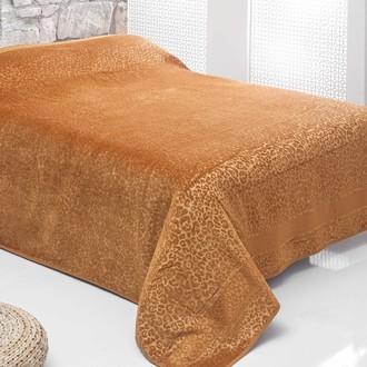 Махровая простынь-покрывало для укрывания Pupilla LEOPAR махра+велюр бамбук (горчичный)