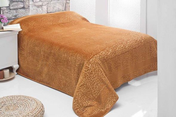 Махровая простынь-покрывало-одеяло Pupilla LEOPAR махра+велюр бамбук (горчичный) 200*220, фото, фотография