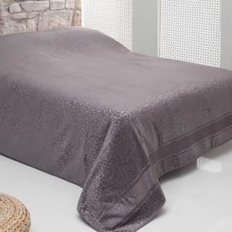 Махровая простынь-покрывало для укрывания Pupilla OTTOMON махра+велюр бамбук (серый)