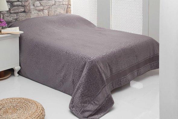 Махровая простынь-покрывало-одеяло Pupilla LEOPAR махра+велюр бамбук (серый) 200*220, фото, фотография