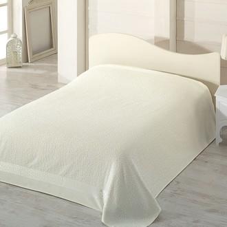 Махровая простынь-покрывало-одеяло Pupilla SAFARI махра+велюр бамбук (кремовый)
