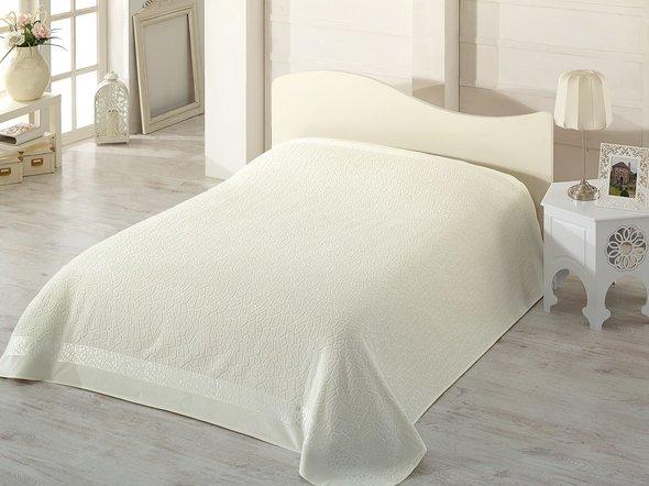 Махровая простынь-покрывало для укрывания Pupilla SAFARI махра+велюр бамбук (кремовый) 200*220, фото, фотография