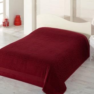 Махровая простынь-покрывало-одеяло Pupilla SAFARI махра+велюр бамбук (бордовый)