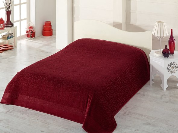 Махровая простынь-покрывало-одеяло Pupilla SAFARI махра+велюр бамбук (бордовый) 200*220, фото, фотография