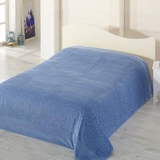 Махровая простынь-покрывало-одеяло Pupilla SAFARI махра+велюр бамбук (голубой)