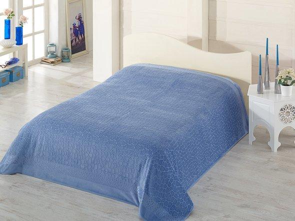 Махровая простынь-покрывало-одеяло Pupilla SAFARI махра+велюр бамбук (голубой) 200*220, фото, фотография