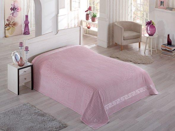 Махровая простынь-покрывало-одеяло Pupilla SORTI махра хлопок (грязно-розовый) 200*220, фото, фотография