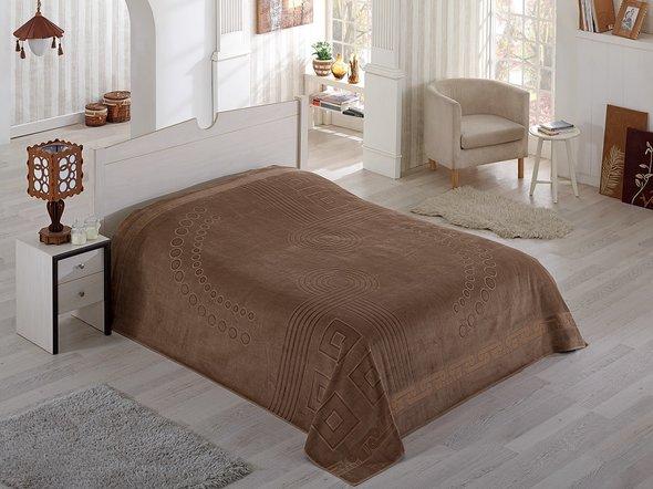 Махровая простынь-покрывало-одеяло Pupilla SORTI махра хлопок (коричневый) 200*220, фото, фотография