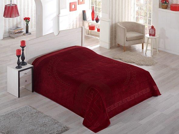 Махровая простынь-покрывало-одеяло Pupilla SORTI махра хлопок (бордовый) 200*220, фото, фотография