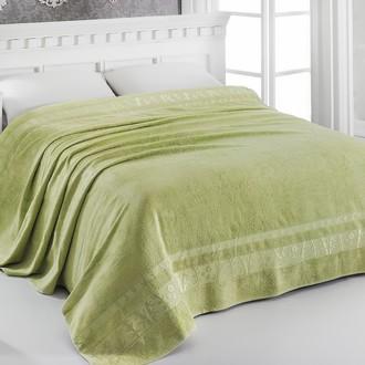Махровая простынь-одеяло-покрывало Pupilla ELIT махра бамбук зелёный