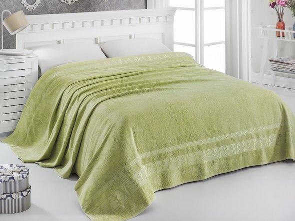 Махровая простынь-одеяло-покрывало Pupilla ELIT махра бамбук (зелёный) 160*220, фото, фотография