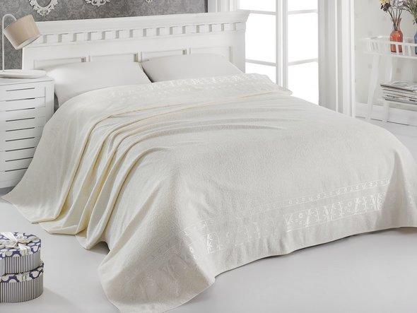 Махровая простынь-одеяло-покрывало Pupilla ELIT махра бамбук кремовый 200*220, фото, фотография