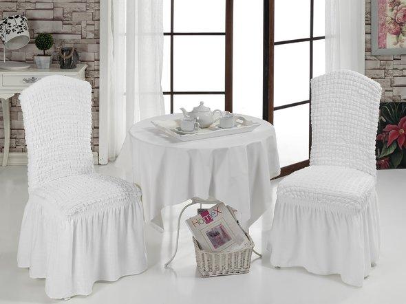 Набор чехлов на стулья (2 шт.) Bulsan BURUMCUK (белый), фото, фотография
